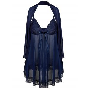 See Through Plus Size Babydoll With Scarf - Purplish Blue - 6xl