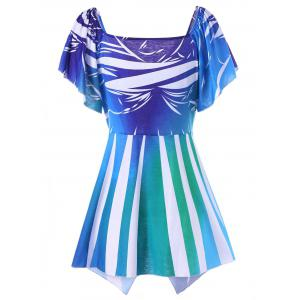 Plus Size Butterfly Sleeve Asymmetric T-Shirt - BLUE XL
