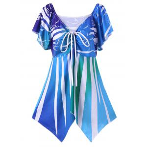 Plus Size Butterfly Sleeve Asymmetric T-Shirt