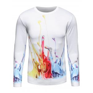 Long Sleeve 3D Colorful Splatter Paint Print T-Shirt