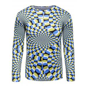3D Color Block Spiral Print Trippy T-Shirt