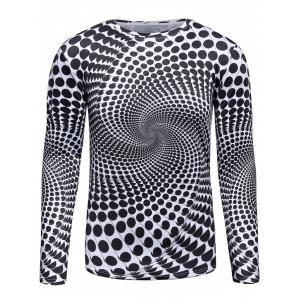 3D Polka Dot Vortex Print Trippy T-Shirt