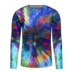 3D Colorful Radial Print Trippy T-Shirt