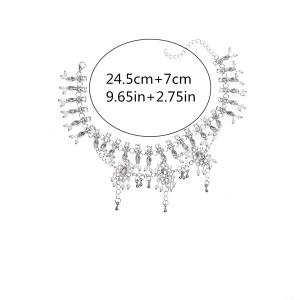 Bohemian Alloy Layered Rhinestone Fringed Anklet - SILVER