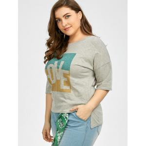 Plus Size Love Graphic T-Shirt - GRAY 2XL