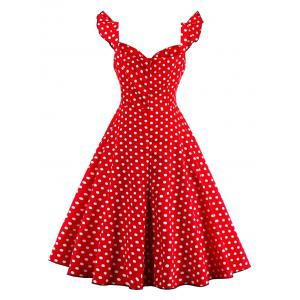 Polka Dot Buttoned Pin Up Rockabilly Swing Dress - RED S