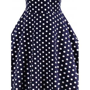Polka Dot Buttoned Pin Up Rockabilly Swing Dress - PURPLISH BLUE XL