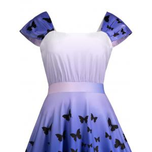 Square Neck Butterfly Print Short Skater Dress -