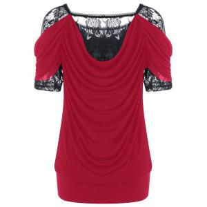 Lace Trim Ruched T-Shirt - RED 2XL