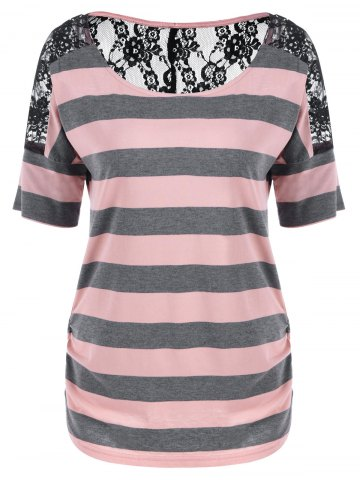 Latest Lace Trim Sheer Striped T-Shirt PINK XL