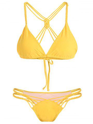 Buy Cami Crossover Cut Out Bikini Set YELLOW L