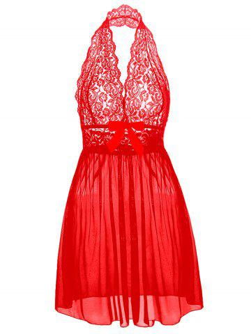 Halter Lace Babydoll plus Taille Rouge 6XL