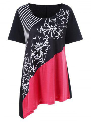 Plus Size Floral and Striped Asymmetrical T-Shirt - Black And White And Red - Xl