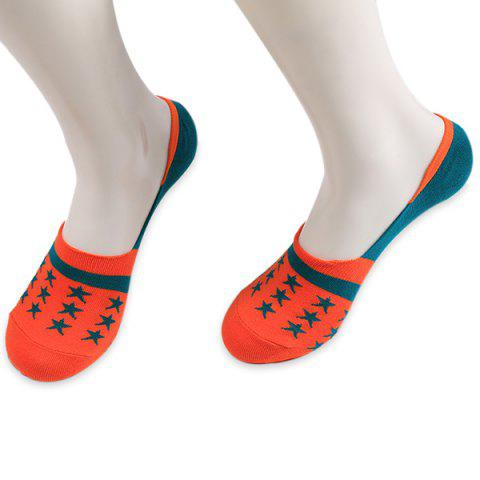 Knited étoiles embellies Mocassins Chaussettes Orange
