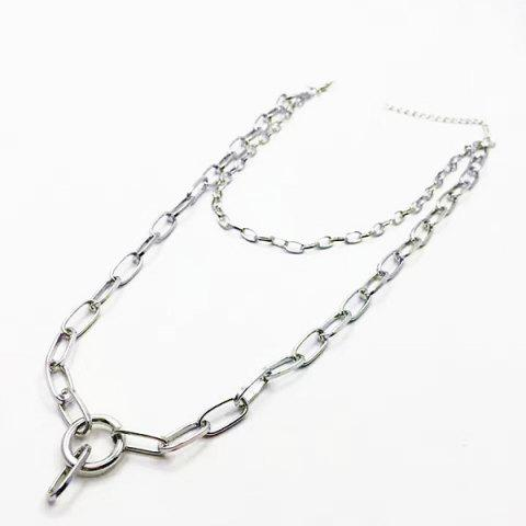 Buy Circle Layered Chain Necklace SILVER