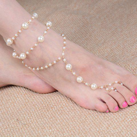 Cheap Artificial Pearl Beaded Anklet - GOLDEN  Mobile
