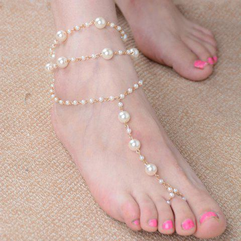 Sale Artificial Pearl Beaded Anklet - GOLDEN  Mobile
