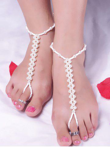 Trendy Artificial Pearl Beads Anklet - WHITE  Mobile