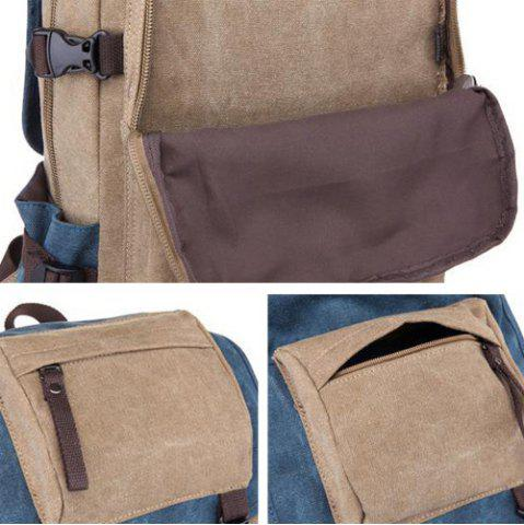 Fancy Color Block Canvas Straps Backpack - BLACK  Mobile