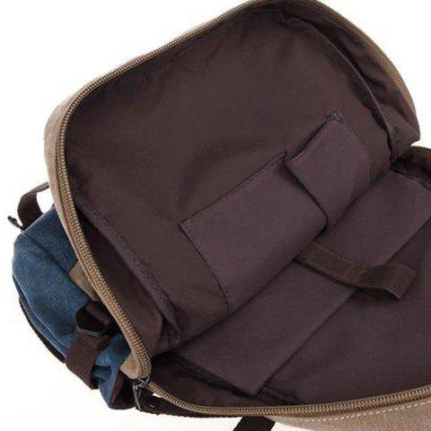 Store Color Block Canvas Straps Backpack - BLACK  Mobile
