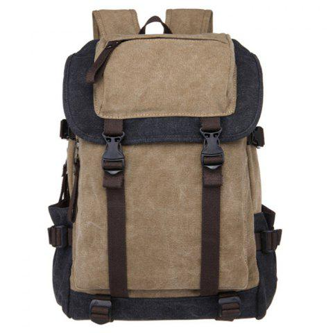 Outfits Color Block Canvas Straps Backpack - BLACK  Mobile