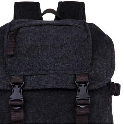 Store Casual Straps Detail Canvas Backpack - BLACK  Mobile