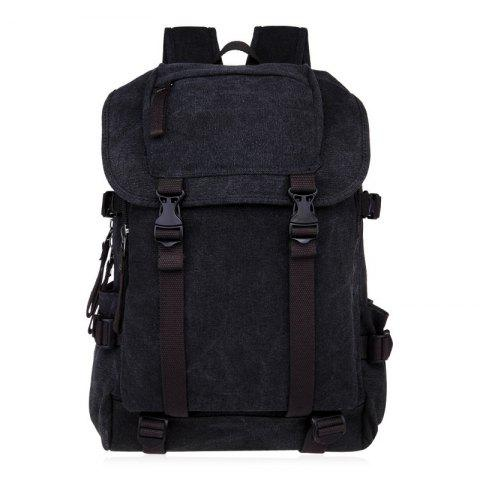 Fancy Casual Straps Detail Canvas Backpack - BLACK  Mobile