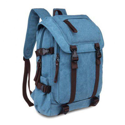 Hot Casual Straps Detail Canvas Backpack - LIGHT BLUE  Mobile
