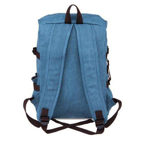 Online Casual Straps Detail Canvas Backpack - LIGHT BLUE  Mobile