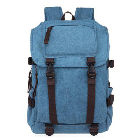 Buy Casual Straps Detail Canvas Backpack - LIGHT BLUE  Mobile