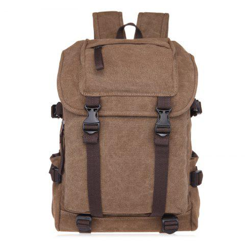 Online Casual Straps Detail Canvas Backpack - COFFEE  Mobile