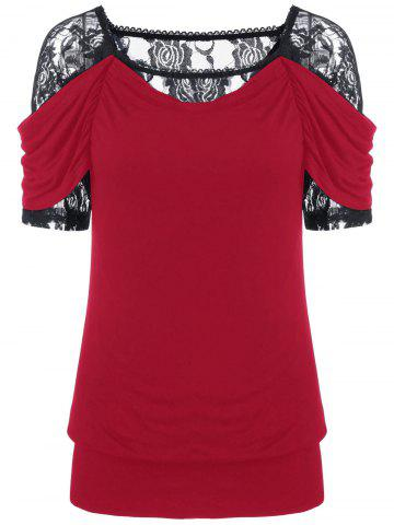 Hot Lace Trim Ruched T-Shirt RED 2XL