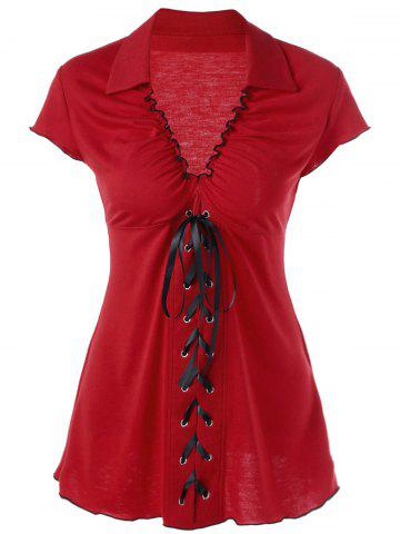 Latest Ruffle Empire Waist Lace Up T-Shirt RED 2XL
