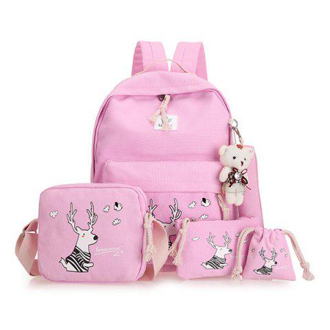 Buy Cartoon Deer Printed Canvas Backpack Set - Pink