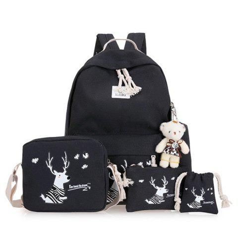 Buy Cartoon Deer Printed Canvas Backpack Set - Black