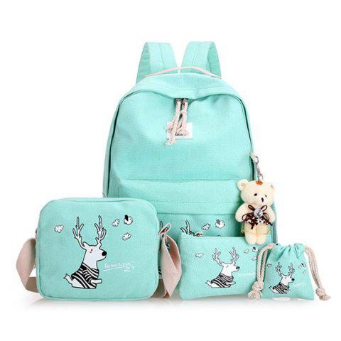 Buy Cartoon Deer Printed Canvas Backpack Set - Light Green