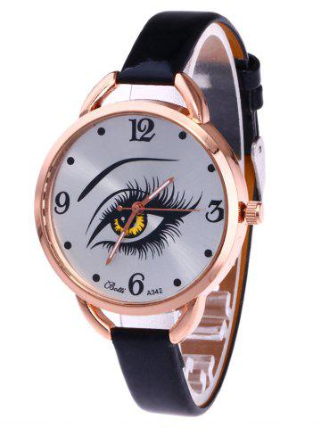 YBOTTI Faux Leather Quartz Watch with Beauty Eye - Black