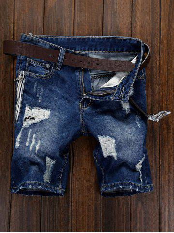 Latest Ripped Zip Fly Denim Shorts - 30 DENIM BLUE Mobile