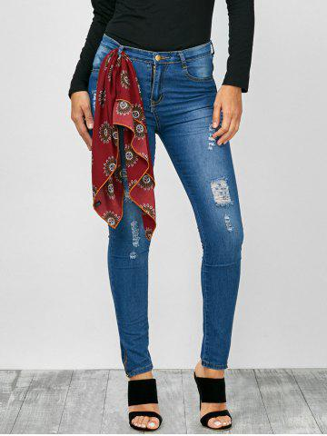 Outfit High Rise Distressed Zip Hem Jeans BLUE L