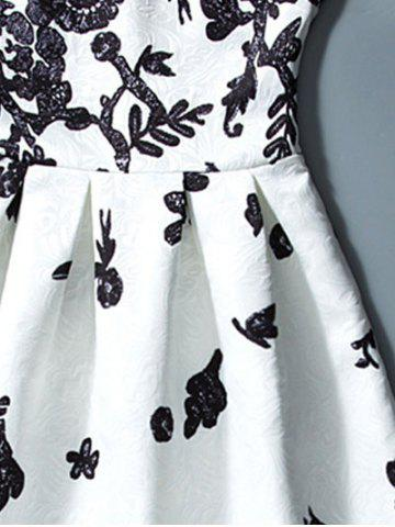 Store Floral Jacquard A Line Cocktail Dress - L WHITE AND BLACK Mobile