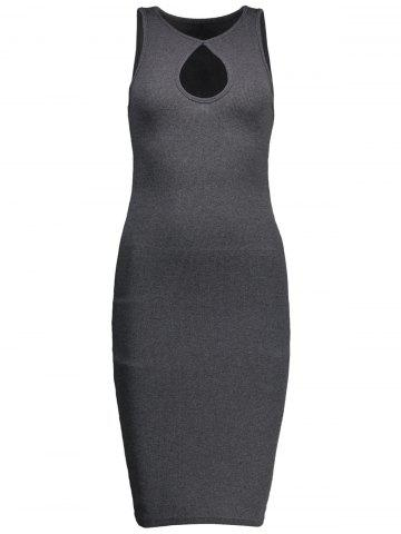 Chic Keyhole Neck Sleeveless Ribbed Sheath Bandage Dress