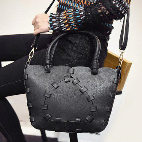 Outfits Stitching Faux Leather Handbag - BLACK  Mobile