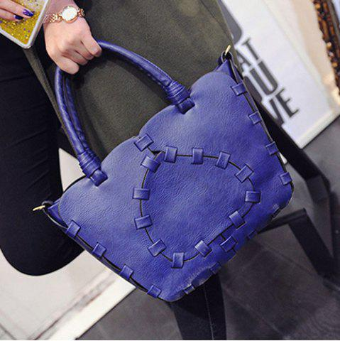 Store Stitching Faux Leather Handbag - BLUE  Mobile