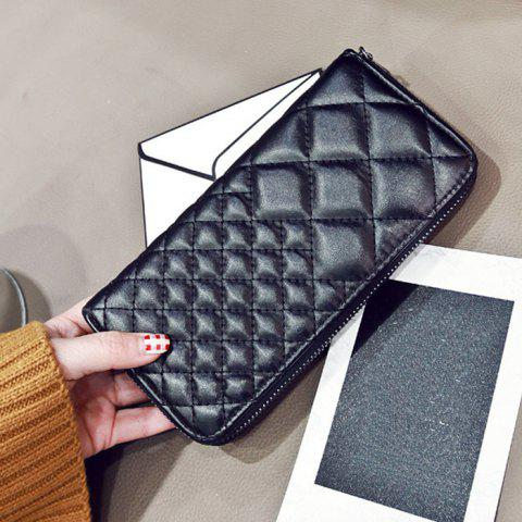 Shops Zipper Around Quilted Clutch Wallet - BLACK  Mobile