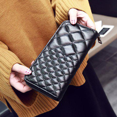 Outfits Zipper Around Quilted Clutch Wallet - BLACK  Mobile