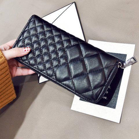 Fashion Zipper Around Quilted Clutch Wallet - BLACK  Mobile