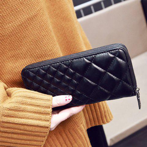 Chic Zipper Around Quilted Clutch Wallet - BLACK  Mobile