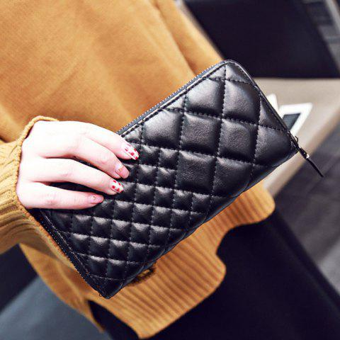 Latest Zipper Around Quilted Clutch Wallet - BLACK  Mobile