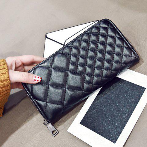 Hot Zipper Around Quilted Clutch Wallet - BLACK  Mobile