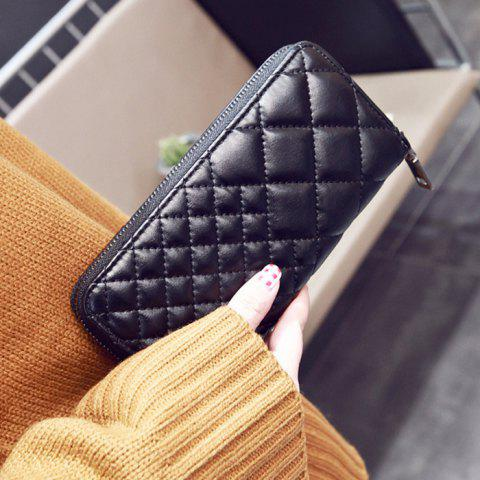 Sale Zipper Around Quilted Clutch Wallet - BLACK  Mobile